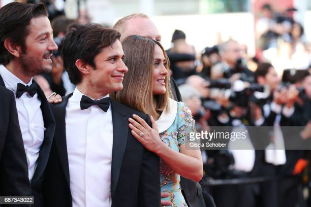 Diego Luna Gael Garcia Bernal and Salma Hayek attend the 70th Anniversary of the 70th annual Cannes Film Festival at Palais des Festivals on May 23...