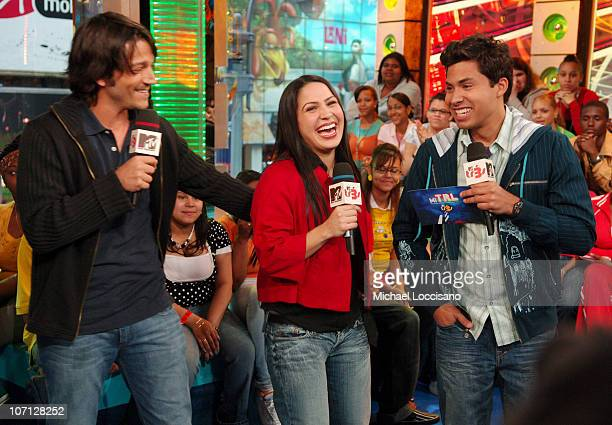 Diego Luna Jennifer Pena and MTV Tr3s VJ Carlos Sanchez