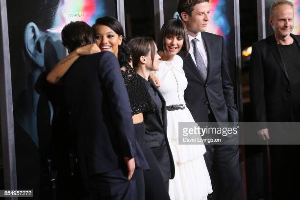 Diego Luna Kiersey Clemons Ellen Page Nina Dobrev James Norton and Niels Arden Oplev attend the premiere of Columbia Pictures' 'Flatliners' at The...