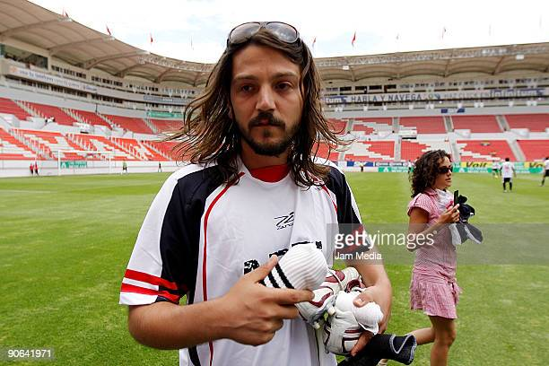 Diego Luna Mexican actor and director of the movie 'Abel' during a friendly soccer game against the chief staff of the Necaxa soccer team at the...