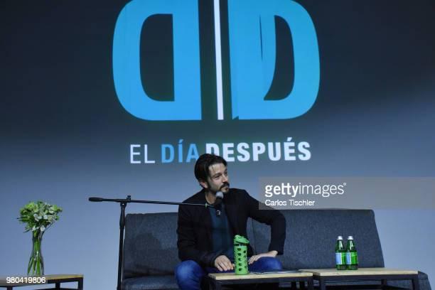 Diego Luna speaks during 'El Dia Despues' press conference at Tanganica Forum on June 19 2018 in Mexico City Mexico 'El Dia Depsues' is a citizen...