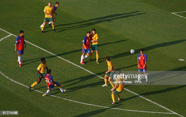 Diego Madrigal of Costa Rica scores the opening goal during the FIFA U20 World Cup Group E match between Australia and Costa Rica at the Port Said...