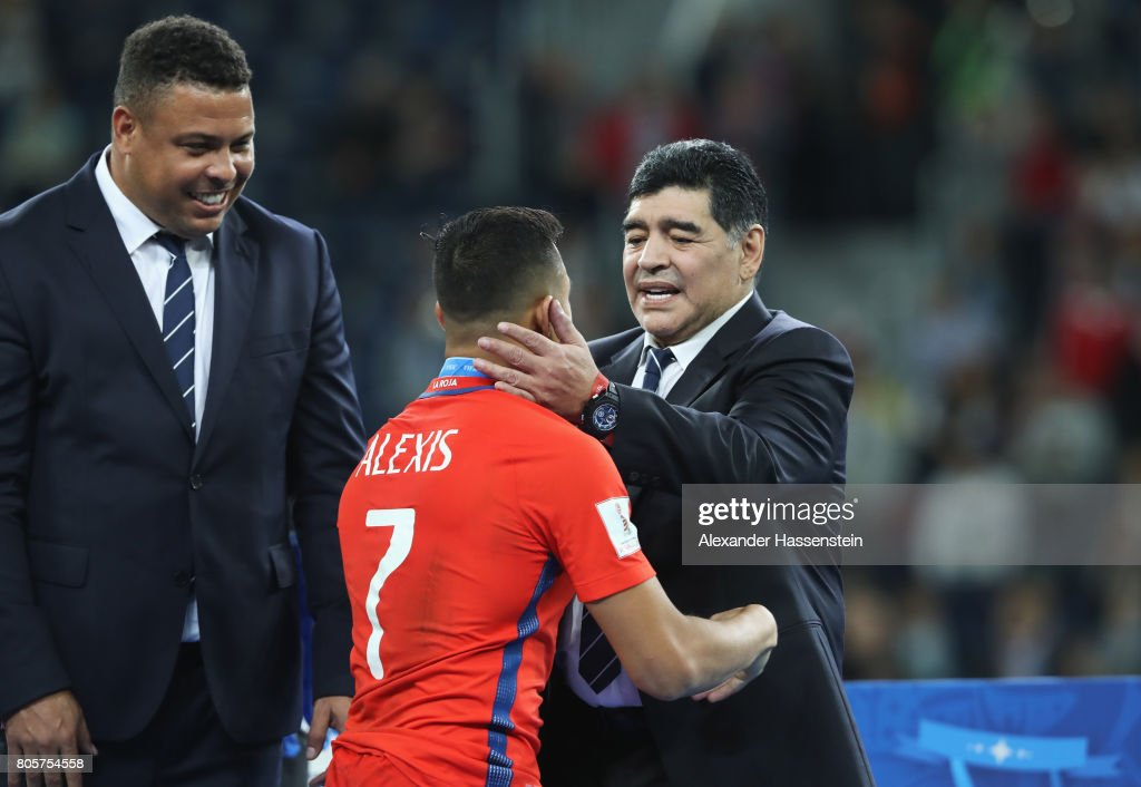Diego Maradona And Alexis Sanchez Of Chile Embrace After The Fifa News Photo Getty Images