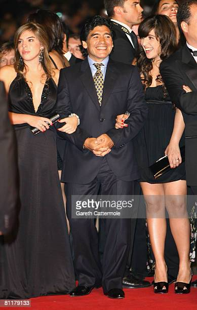 Diego Maradona and Daughters Dalma Nerea and Giannina Dinorah attend the 'Maradona' Premiere at the Palais des Festivals during the 61st...