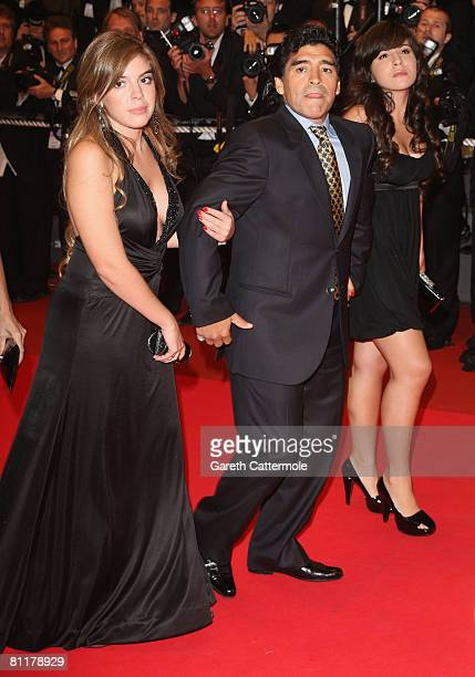 Diego Maradona and Daughters Dalma Nerea and Giannina Dinorah attends the 'Maradona' Premiere at the Palais des Festivals during the 61st...