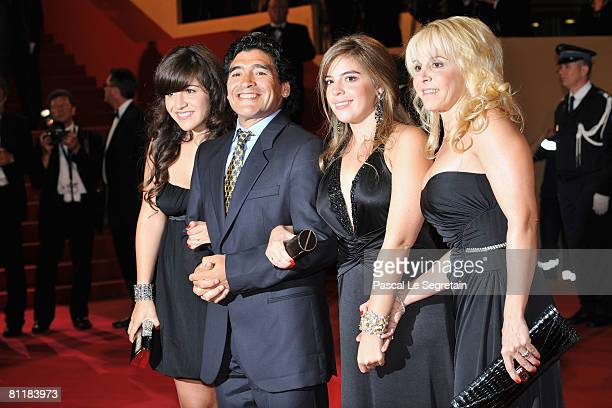 Diego Maradona and ex wife Claudia Villafane and daughters Dalma Nerea and Giannina Dinorah attend the 'Maradona' Premiere at the Palais des...