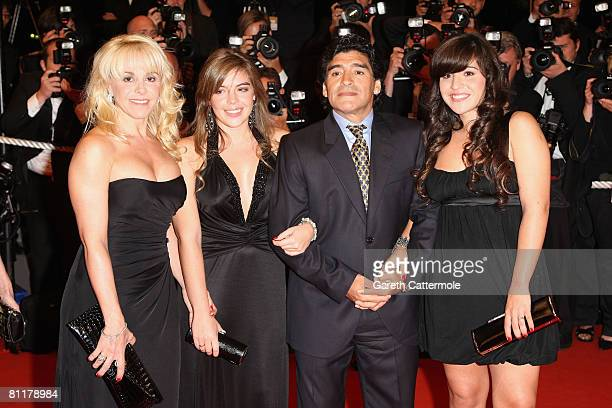 Diego Maradona and family ex wife Claudia Villafane and daughters Dalma Nerea and Giannina Dinorah attends the 'Maradona' Premiere at the Palais des...
