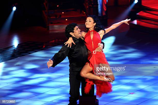 Diego Maradona and his dance partner Angela Panico during the opening of tv show Ballando con le stelle at the RAI Auditorium tv studio on September...