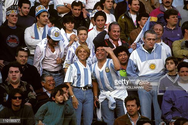 Diego Maradona and his wife at football eliminating World 94 ArgentinaColumbiain Buenos Aires Argentina on September 05 1993