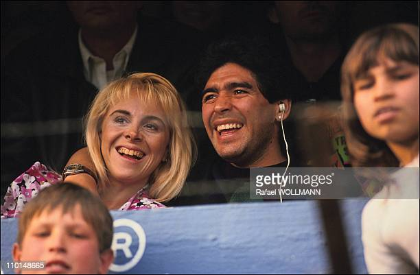 Diego Maradona and his wife Claudia in a football match in Argentina on July 28 1991