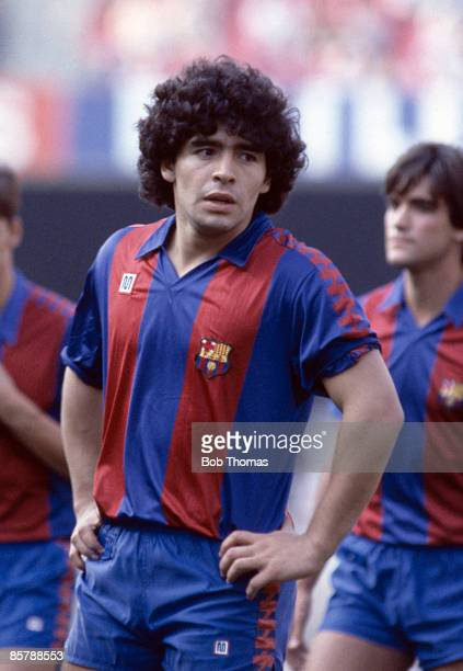 Diego Maradona at Barcelona's preseason photocall at the Nou Camp in Barcelona 28th July 1982