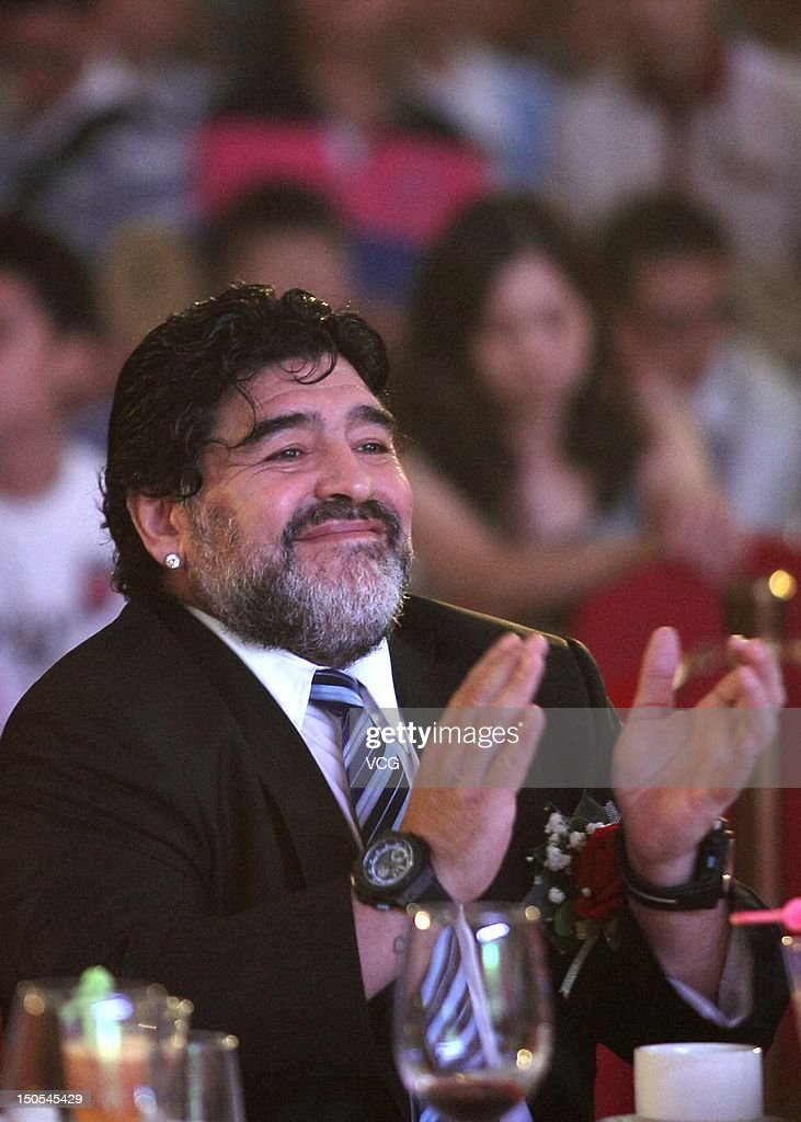Diego Maradona attends SinoVive promotional event at OYC Hotel on August 20, 2012 in Zhaoqing, China.