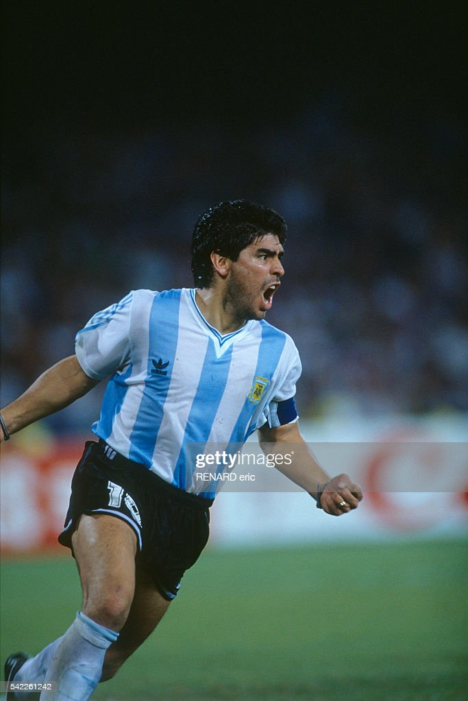 Diego Maradona (Argentina) celebrates victory over Italy during the semi-finals of the 1990 FIFA World Cup.