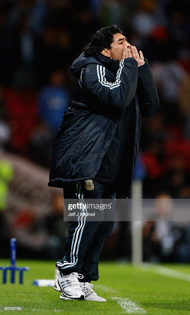 Diego Maradona, coach of Argentina, shouts during the international friendly match between Scotland and Argentina at Hampden Park, November 19, 2008 in Glasgow, Scotland.