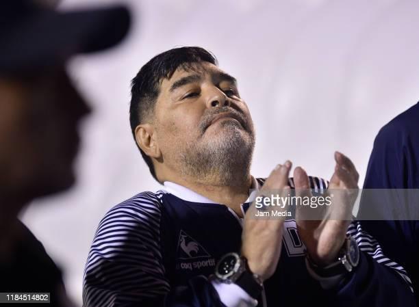 Diego Maradona coach of Gimnasia y Esgrima gestures after a match between Gimnasia y Esgrima La Plata and Arsenal as part of Superliga 2019/20 at...