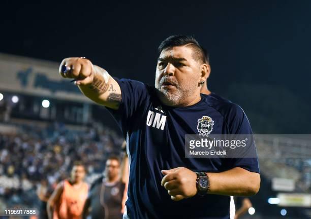 Diego Maradona coach of Gimnasia y Esgrima La Plata gestures after a match between Gimnasia y Esgrima La Plata and Velez as part of Superliga 2019/20...