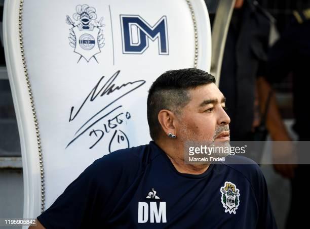 Diego Maradona coach of Gimnasia y Esgrima La Plata looks on before a match between Gimnasia y Esgrima La Plata and Velez as part of Superliga...