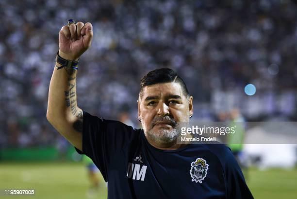 Diego Maradona coach of Gimnasia y Esgrima La Plata looks on during a match between Gimnasia y Esgrima La Plata and Velez as part of Superliga...