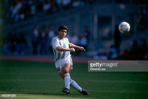 Diego Maradona during a round of 16 match of the 1990 FIFA World Cup against Brazil. Argentina won 1-0.