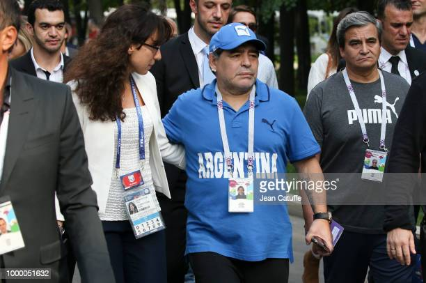 Diego Maradona during the 2018 FIFA World Cup Russia Final match between France and Croatia at Luzhniki Stadium on July 15 2018 in Moscow Russia