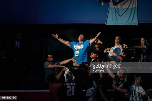 Diego Maradona during the 2018 FIFA World Cup Russia group D match between Nigeria and Argentina on June 26, 2018 at Saint Petersburg Stadium in...