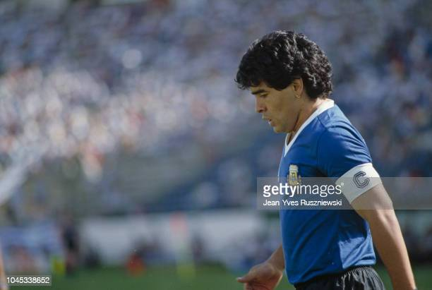 Diego Maradona from Argentina during a Round of 16 match against Uruguay during the 1986 FIFA World Cup | Location Puebla Mexico