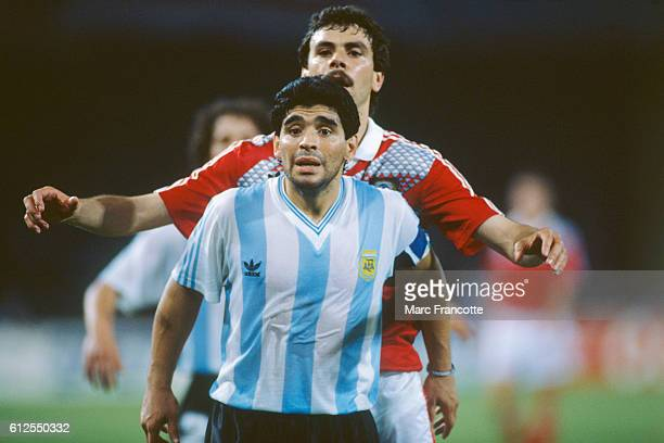 Diego Maradona from Argentina in action against USSR during the 1990 FIFA World Cup