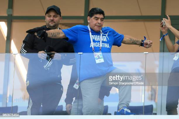 Diego Maradona gestures during the 2018 FIFA World Cup Russia Group D match between Argentina and Croatia at the Nizhny Novgorod Stadium on June 21...