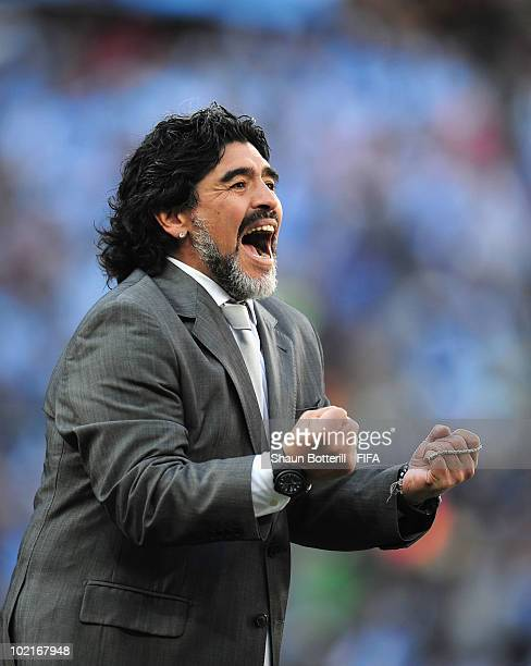 Diego Maradona head coach of Argentina celebrates a goal during the 2010 FIFA World Cup South Africa Group B match between Argentina and South Korea...