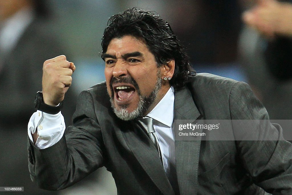Diego Maradona head coach of Argentina celebrates after Gonzalo Higuain scores his side's second goal during the 2010 FIFA World Cup South Africa Round of Sixteen match between Argentina and Mexico at Soccer City Stadium on June 27, 2010 in Johannesburg, South Africa.
