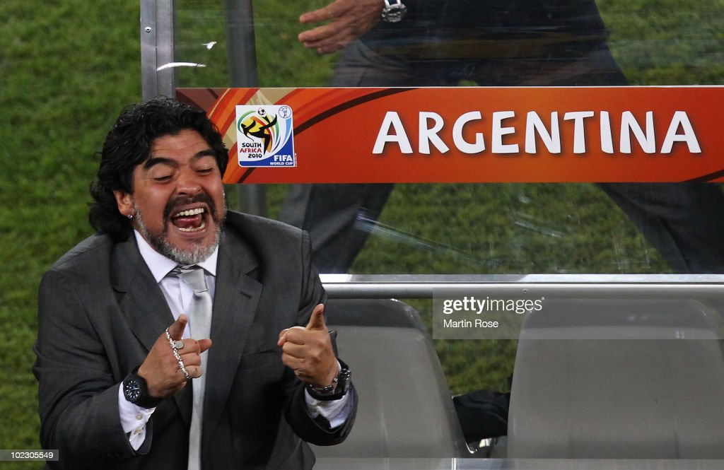 Diego Maradona head coach of Argentina celebrates victory after the 2010 FIFA World Cup South Africa Group B match between Greece and Argentina at Peter Mokaba Stadium on June 22, 2010 in Polokwane, South Africa.