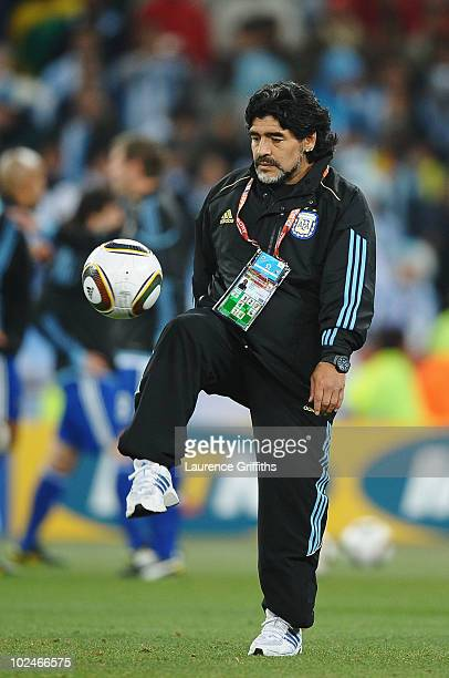 Diego Maradona head coach of Argentina during the warm up session ahead of the 2010 FIFA World Cup South Africa Round of Sixteen match between...