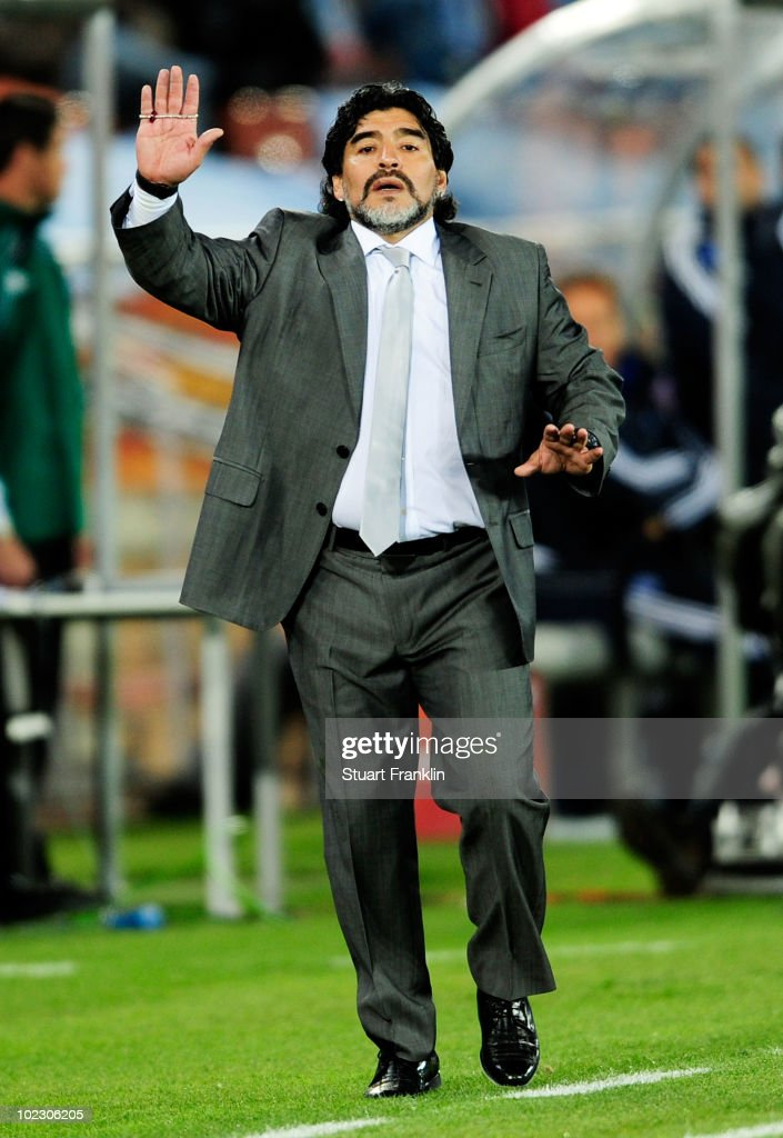 Diego Maradona head coach of Argentina gestures during the 2010 FIFA World Cup South Africa Group B match between Greece and Argentina at Peter Mokaba Stadium on June 22, 2010 in Polokwane, South Africa.