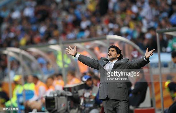 Diego Maradona head coach of Argentina gestures in frustration on the touchline during the 2010 FIFA World Cup South Africa Quarter Final match...
