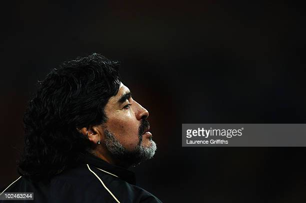 Diego Maradona head coach of Argentina looks on ahead of the 2010 FIFA World Cup South Africa Round of Sixteen match between Argentina and Mexico at...