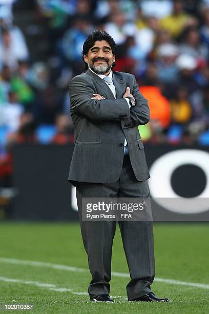 Diego Maradona head coach of Argentina looks on during the 2010 FIFA World Cup South Africa Group B match between Argentina and Nigeria at Ellis Park...