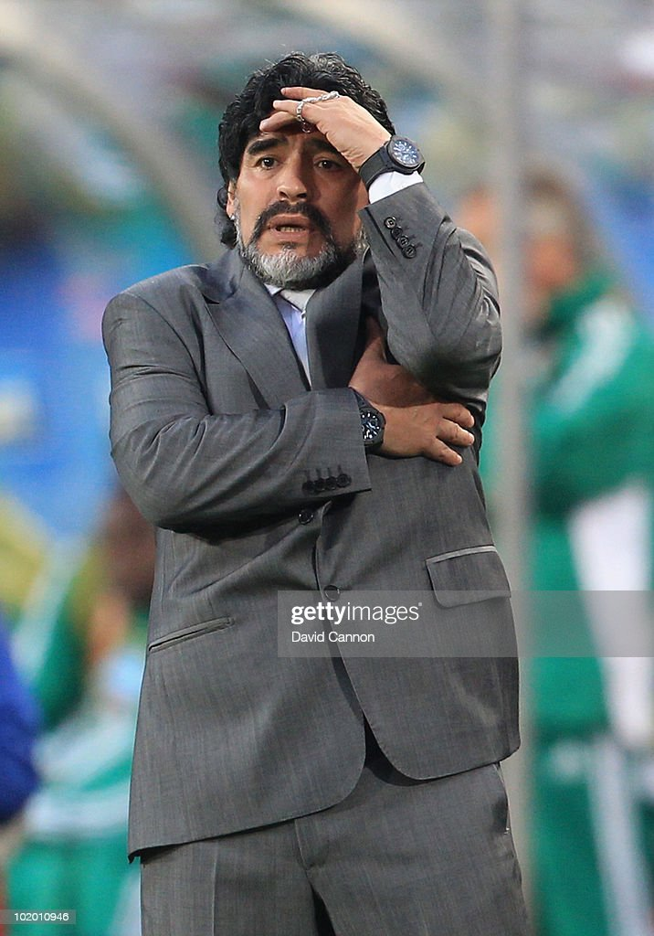Diego Maradona head coach of Argentina looks on during the 2010 FIFA World Cup South Africa Group B match between Argentina and Nigeria at Ellis Park Stadium on June 12, 2010 in Johannesburg, South Africa.
