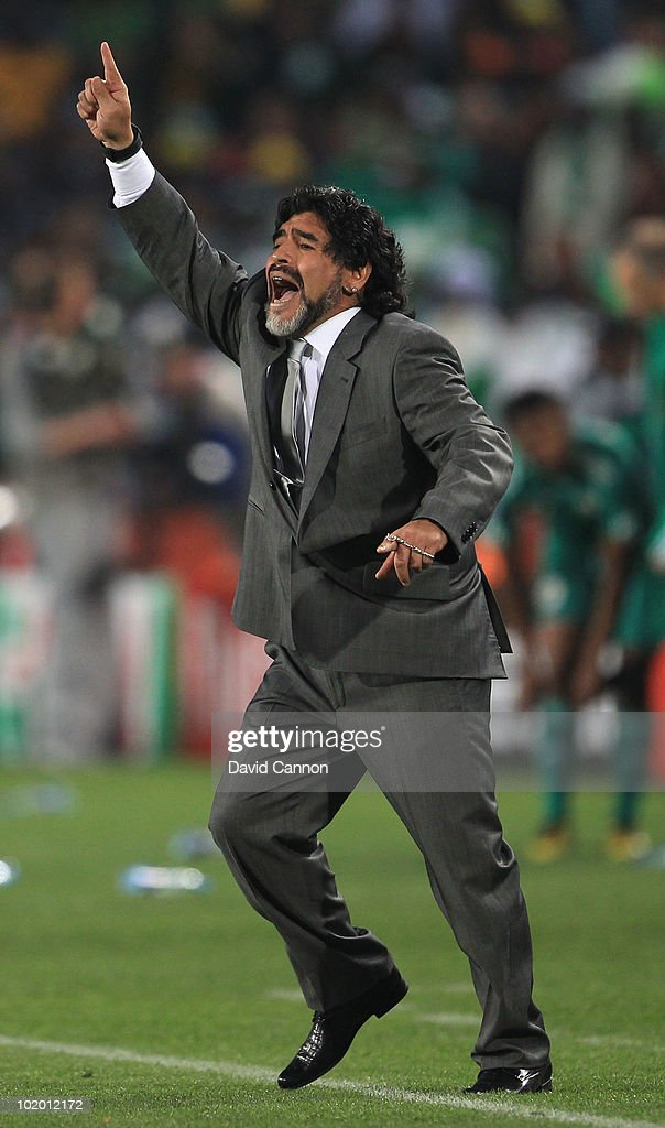 Diego Maradona head coach of Argentina questions a decision during the 2010 FIFA World Cup South Africa Group B match between Argentina and Nigeria at Ellis Park Stadium on June 12, 2010 in Johannesburg, South Africa.
