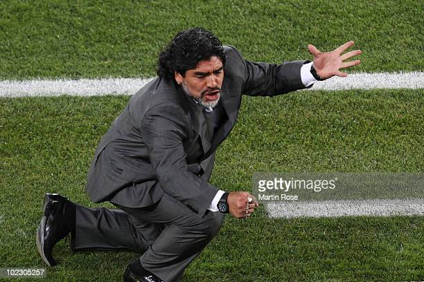 Diego Maradona head coach of Argentina reacts during the 2010 FIFA World Cup South Africa Group B match between Greece and Argentina at Peter Mokaba...