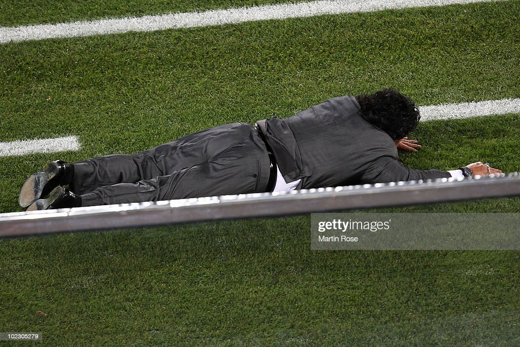 Diego Maradona head coach of Argentina reacts during the 2010 FIFA World Cup South Africa Group B match between Greece and Argentina at Peter Mokaba Stadium on June 22, 2010 in Polokwane, South Africa.