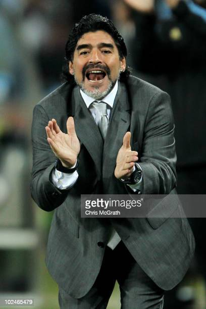 Diego Maradona head coach of Argentina shouts instructions to his players during of the 2010 FIFA World Cup South Africa Round of Sixteen match...