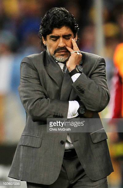 Diego Maradona head coach of Argentina shows his dejection as he suffers a massive defeat in the 2010 FIFA World Cup South Africa Quarter Final match...