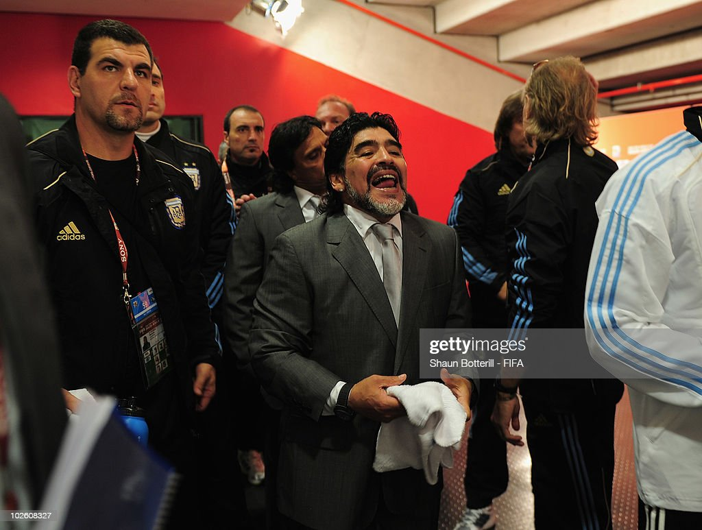Diego Maradona head coach of Argentina (C) waits in the tunnel ahead of the 2010 FIFA World Cup South Africa Quarter Final match between Argentina and Germany at Green Point Stadium on July 3, 2010 in Cape Town, South Africa.