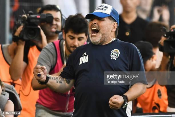 Diego Maradona head coach of Gimnasia celebrates after winning a match between Gimnasia and Central Cordoba as part of Superliga 2019/20 at Juan...