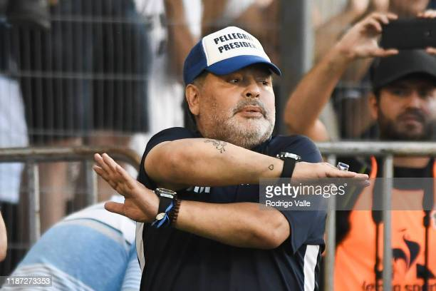Diego Maradona head coach of Gimnasia gestures during a match between Gimnasia and Central Cordoba as part of Superliga 2019/20 at Juan Carmelo...
