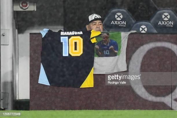Diego Maradona head coach of Gimnasia looks on during a match between Boca Juniors and Gimnasia as part of Superliga 2019/20 at Estadio Alberto J...