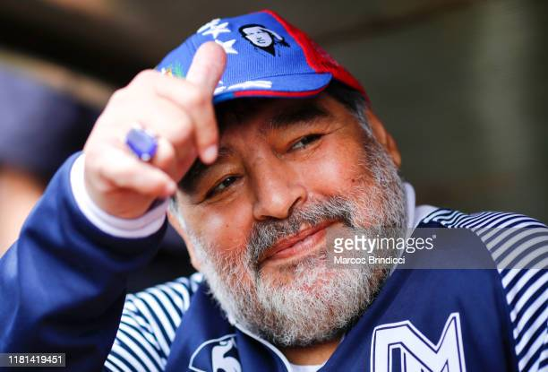 Diego Maradona, head coach of Gimnasia y Esgrima La Plata, gestures before a match between Aldosivi and Gimnasia y Esgrima La Plata as part of...