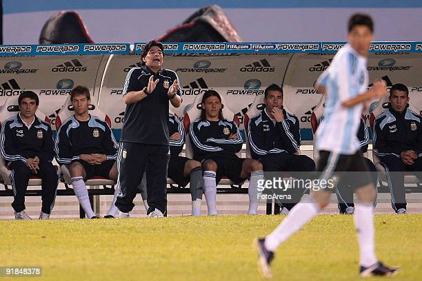 Diego Maradona headcoach of Argentina during the match against Peru As part of FIFA 2010 World Cup Qualifier at Monumental Stadium on October 10 2009...