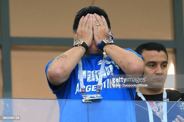 Diego Maradona holds his head in his hands during the 2018 FIFA World Cup Russia Group D match between Argentina and Croatia at the Nizhny Novgorod...