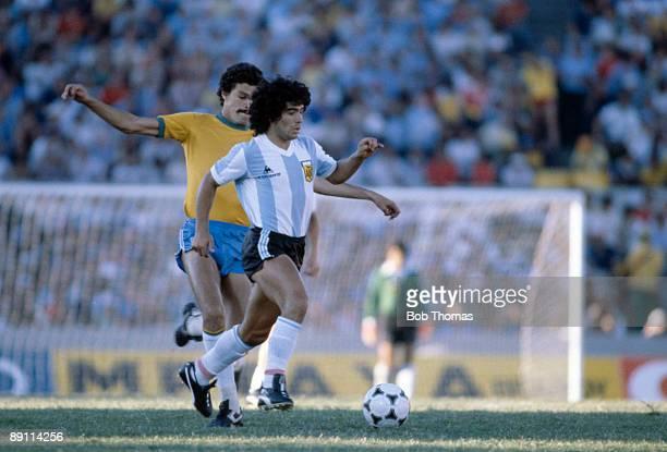 Diego Maradona in action for Argentina against Brazil in the Copa De Oro at the Estadio Centenario in Montevideo 4th January 1981